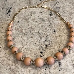 Pink and gold ball necklace
